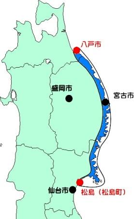「三陸海岸 地図」の画像検索結果