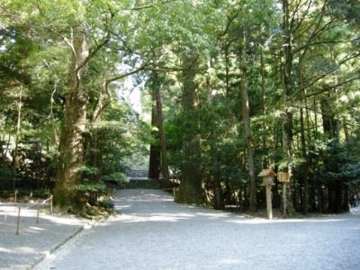 伊勢神宮の境内 伊勢神宮の境内。境内の参道には玉砂利が敷かれ参道両脇にはうっそうと木々... 伊